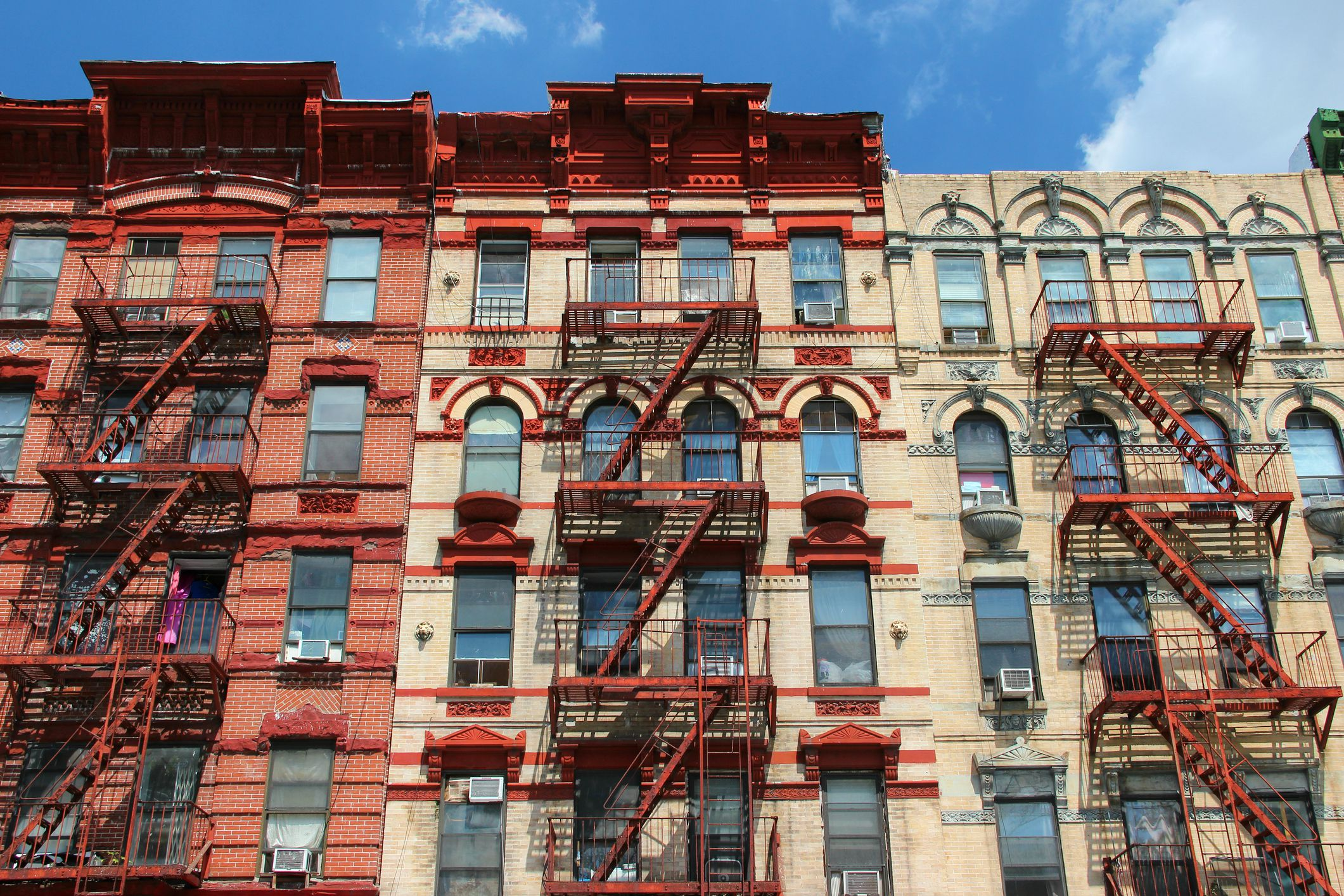 Usa New York City Manhattan Lower East Side Typical Apartment Building Facades