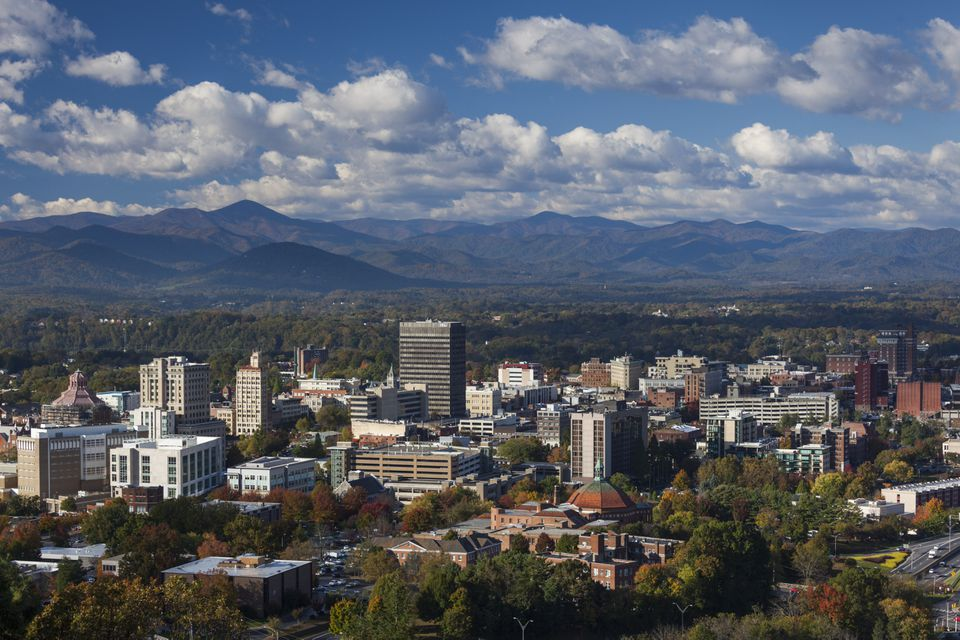 North Carolina, Asheville, View of city on sunny day