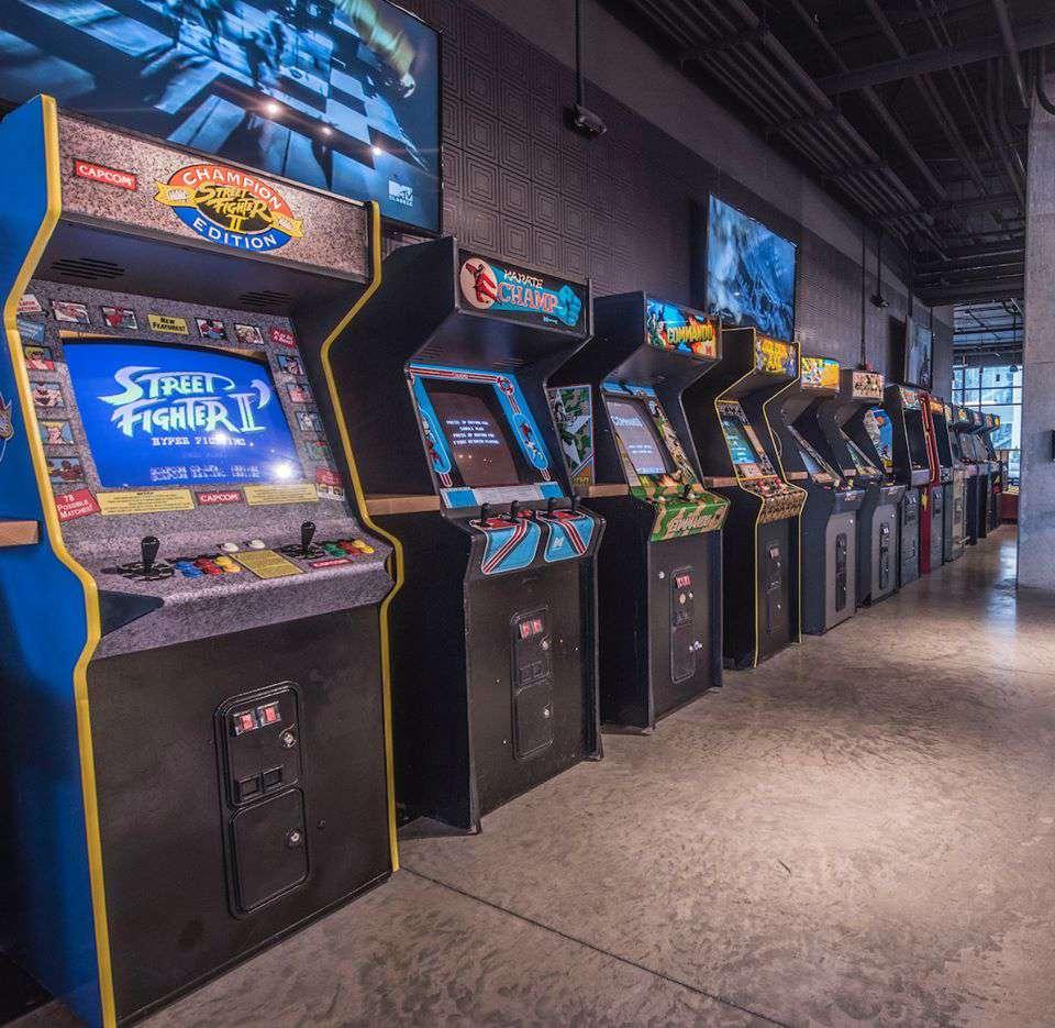 Row of arcade machines