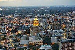 Aerial view of San Antonio illuminated at dusk