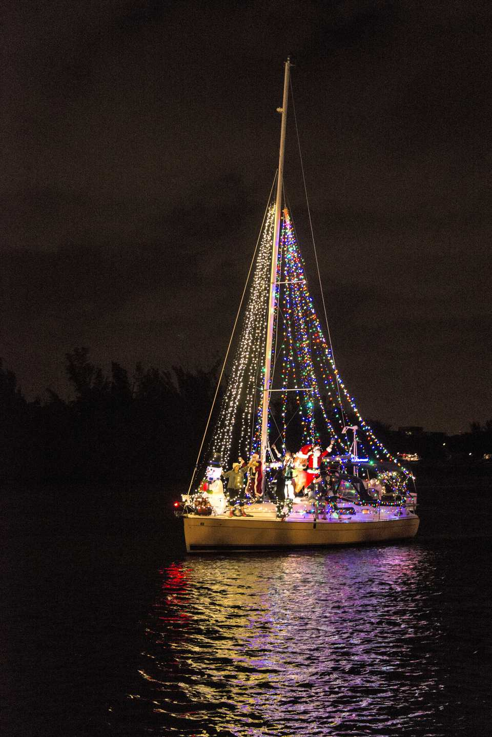 A boat in a Christmas boat parade in Costa Rica.