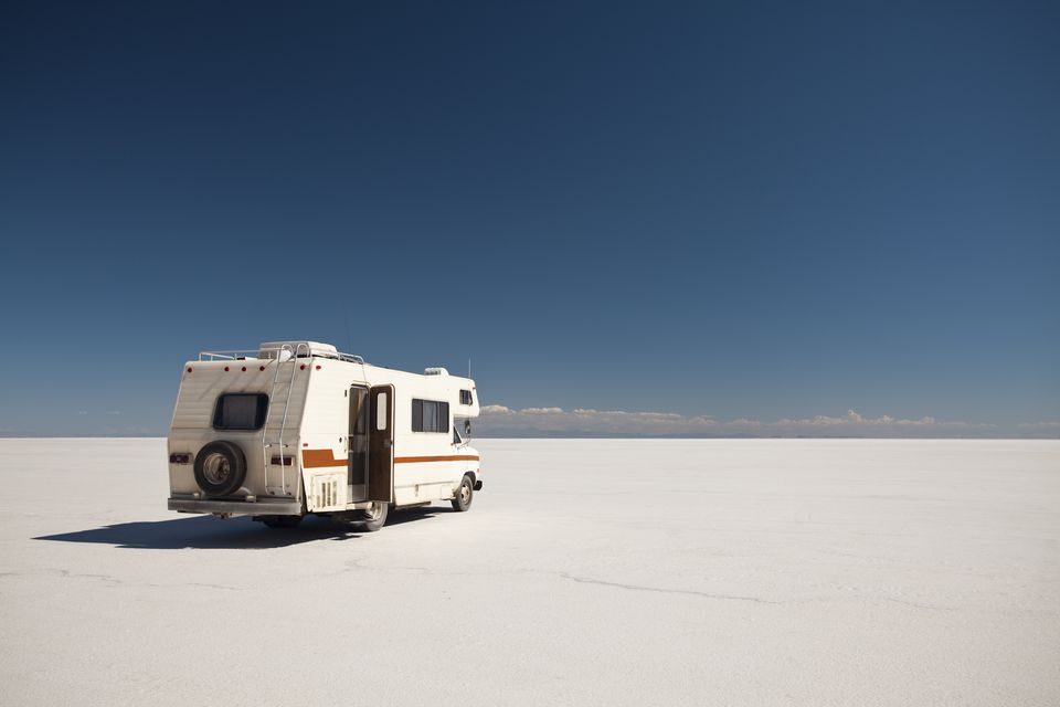 RV parked in the desert