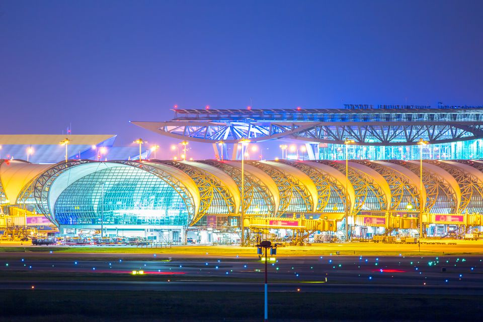 Suwannabhumi Airport at night, Bangkok, Thailand