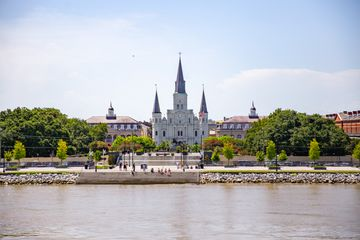 River front steps in front of the cathedral
