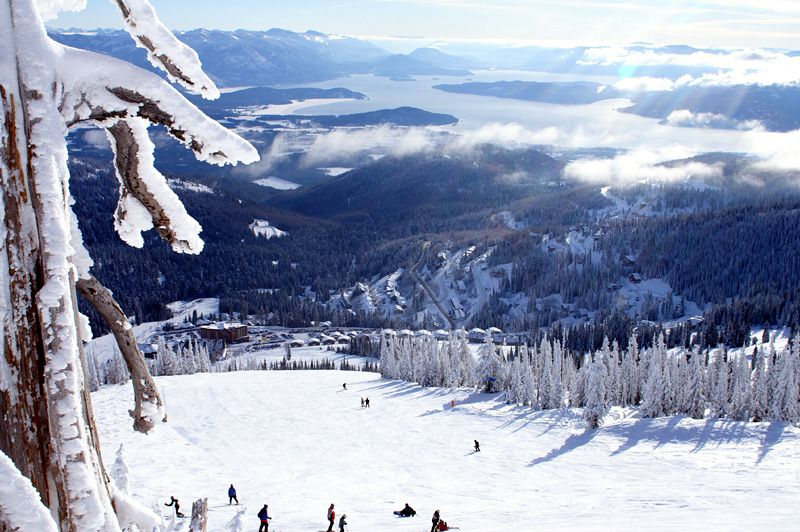 Winter View of Schweitzer Mountain Resort and Lake Pend Oreille