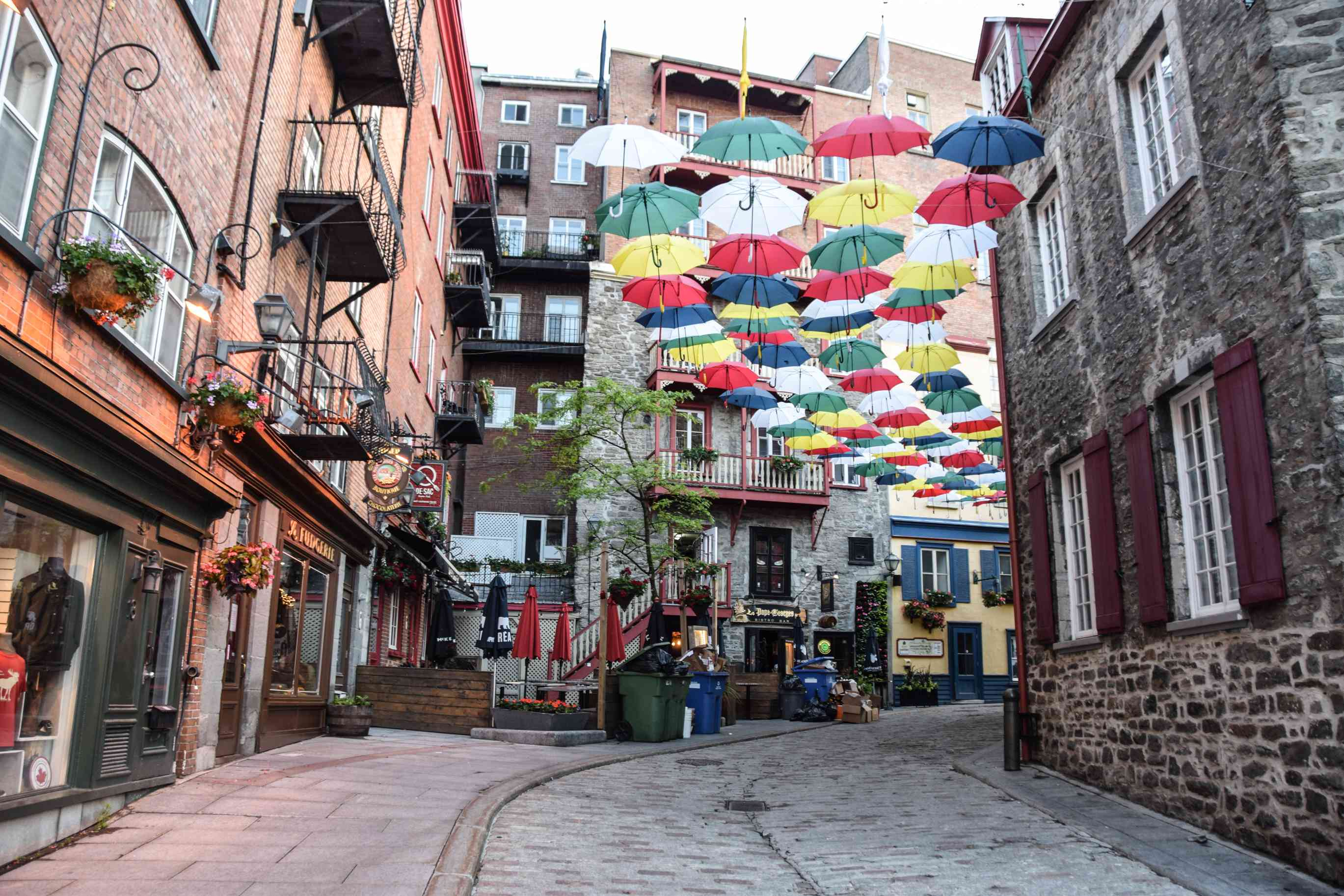 A cobble stone street with hanging umbrellas