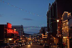 Park City main street Utah lit for the holidays.