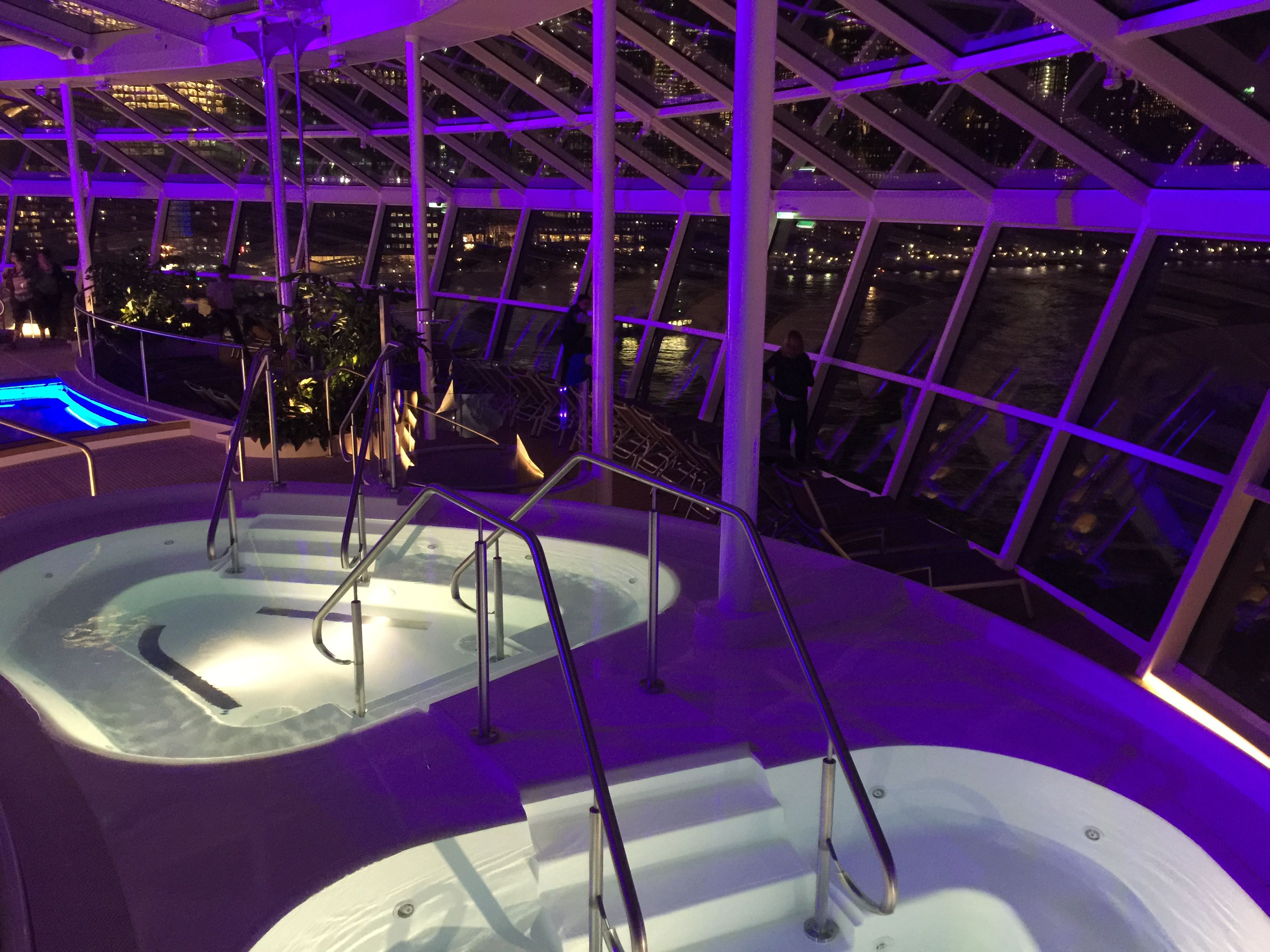 Anthem of the Seas hot tubs at night