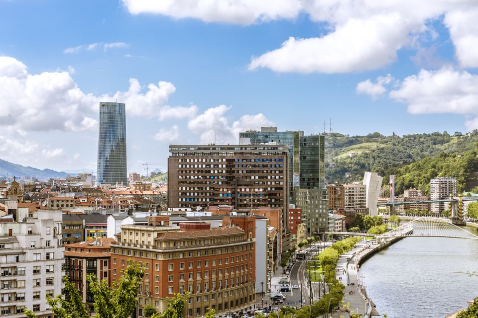 Spain, Basque country, Bilbao. High angle view of the city and river