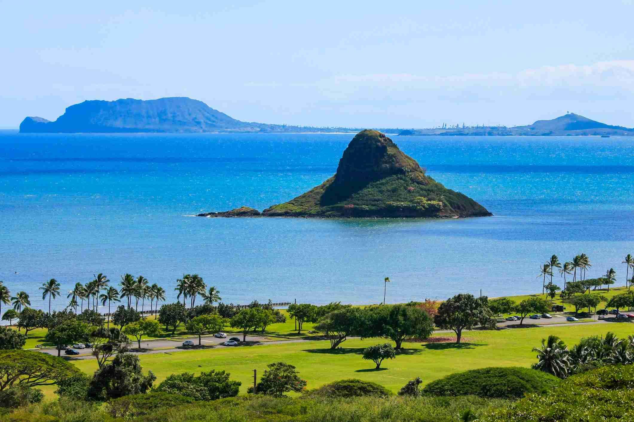 Mokoli'i, also known as Chinaman's Hat Island, in Kaneohe Bay, Oahu.