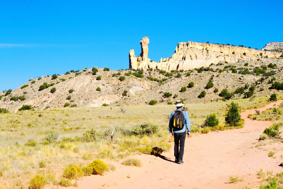 Senior Man Hiking, Chimney Rock, Ghost Ranch, NM