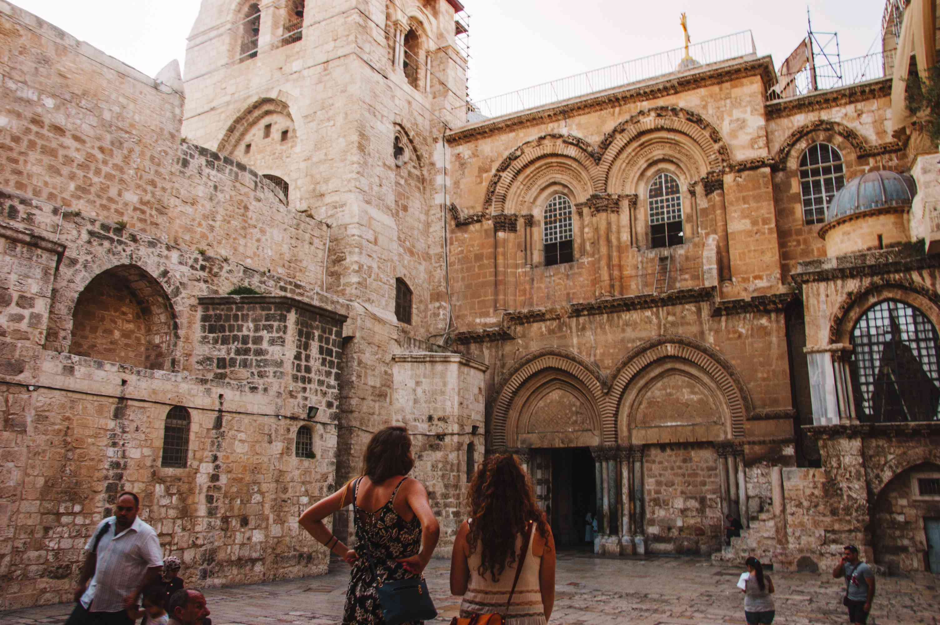Tourists wandering through the Old City of Jerusalem