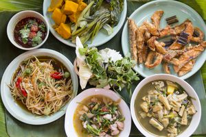 A spread of Isan lunch food