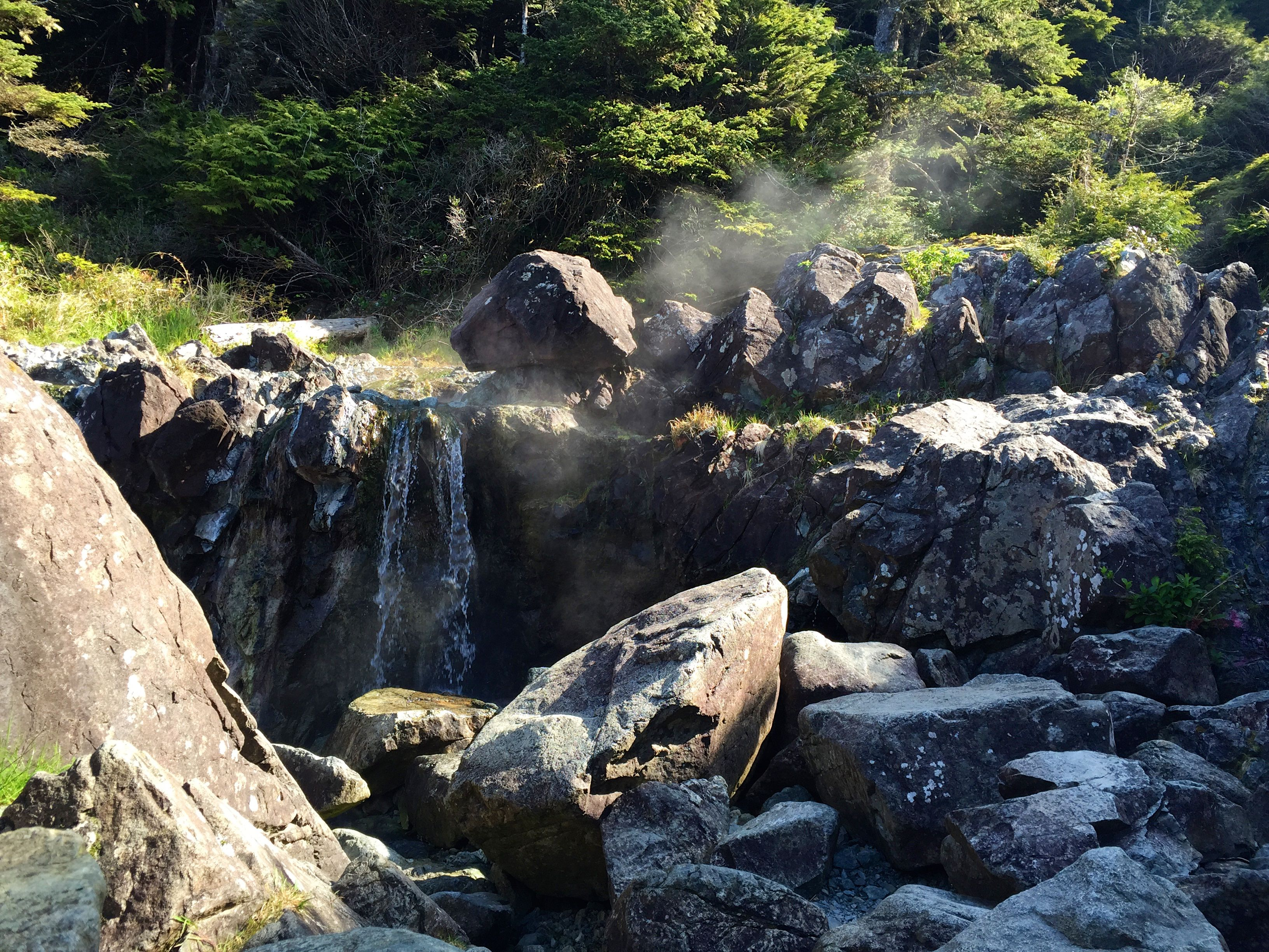Steaming thermal waters at Hot Springs Cove near Tofino, Canada