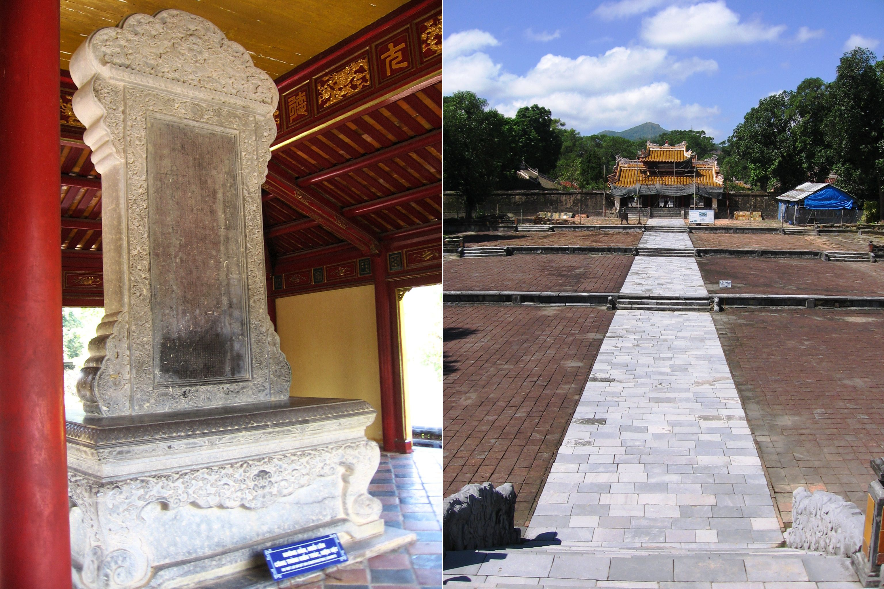Thanh Duc Than Cong stele on the left; view looking west from the Stele Pavilion on the right