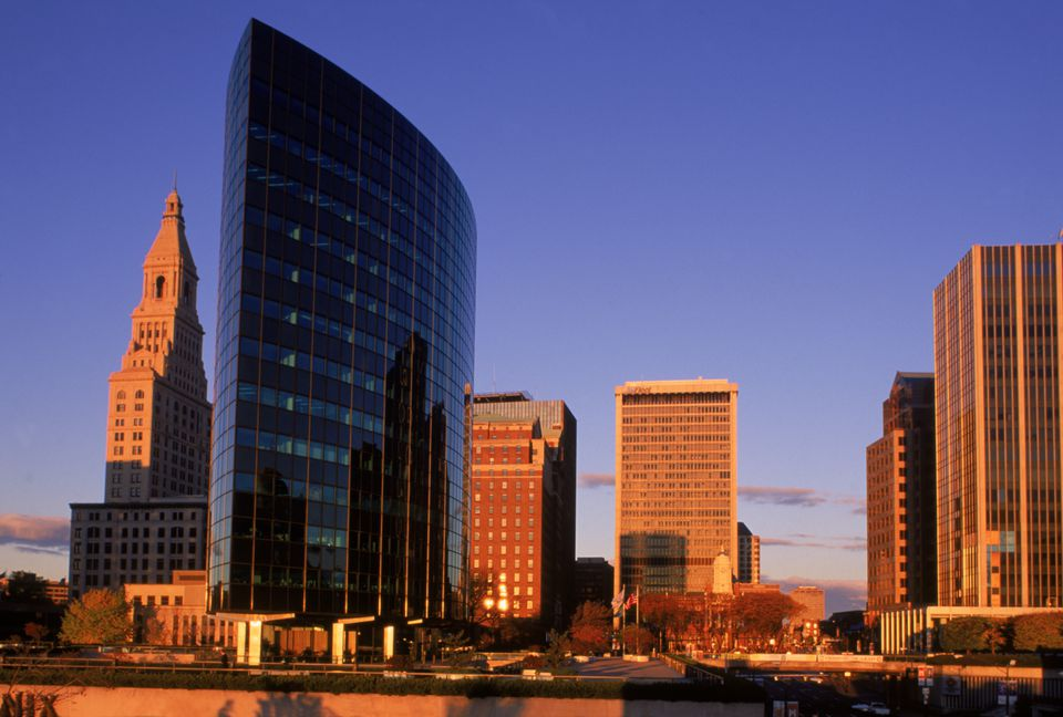 Hartford skyline at dawn