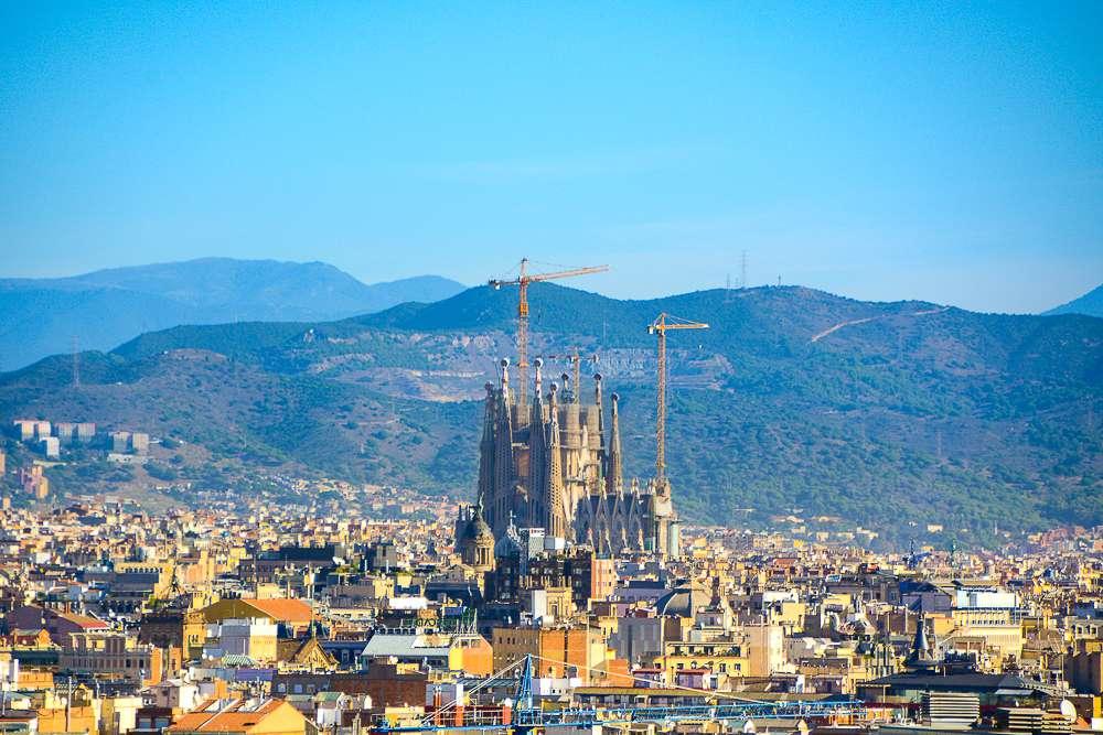 View of Sagrada Familia towering over the skyline