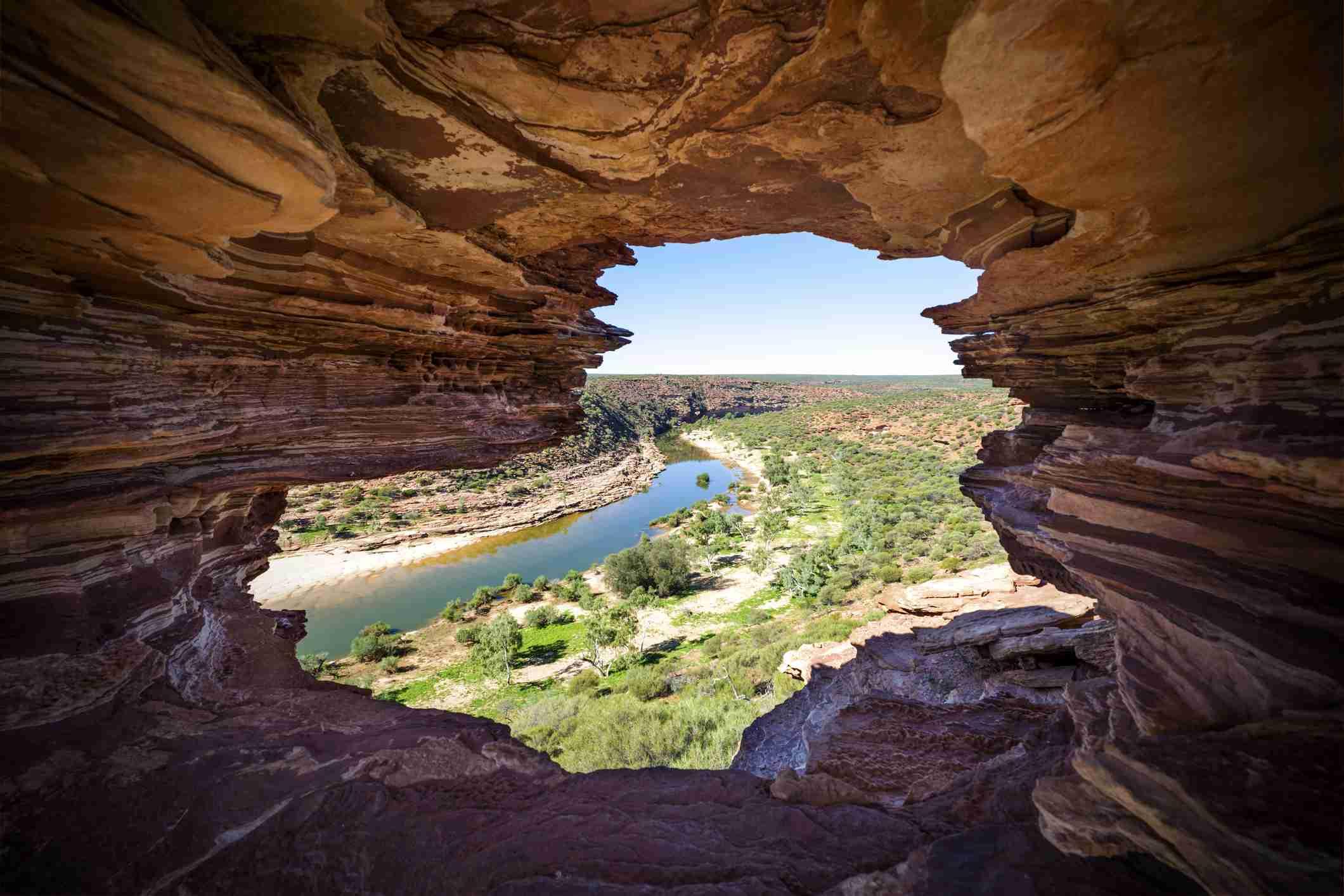 Looking through Nature's Window in Kalbarri National Park, Australia