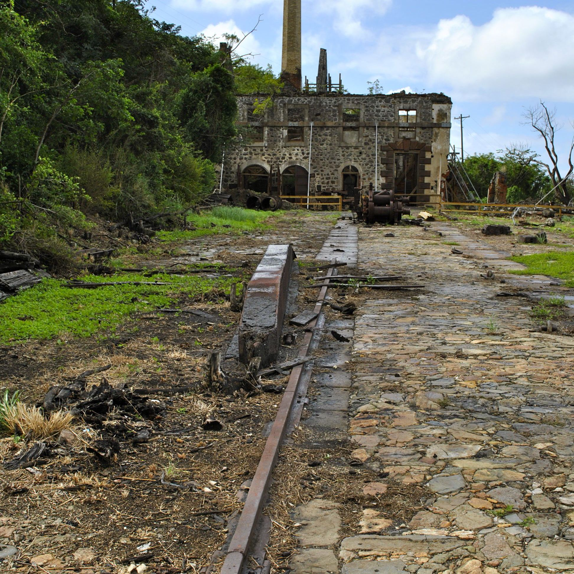 Ruins of the Hassell Island Marine Railroad and engine building.