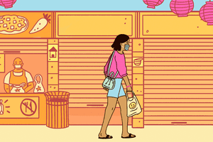 illustration of a woman walking through a street food center where most vendors are closed