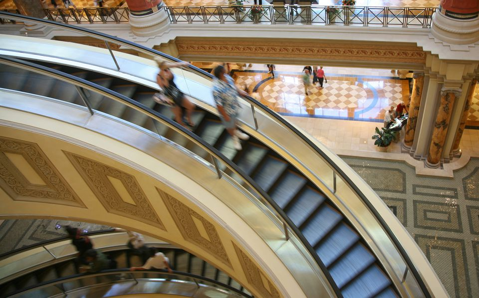 Escalator In Indoor Shopping Mall in Las Vegas