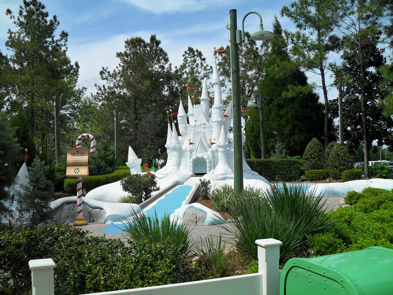 Replica of Cinderella Castle at Walt Disney Word Resort's Winter Summerland Mini Golf