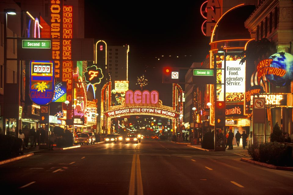 'Neon lights at night in Reno, NV'