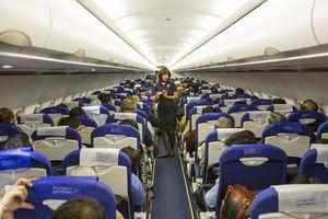 An Indigo flight, an Indian budget airline.