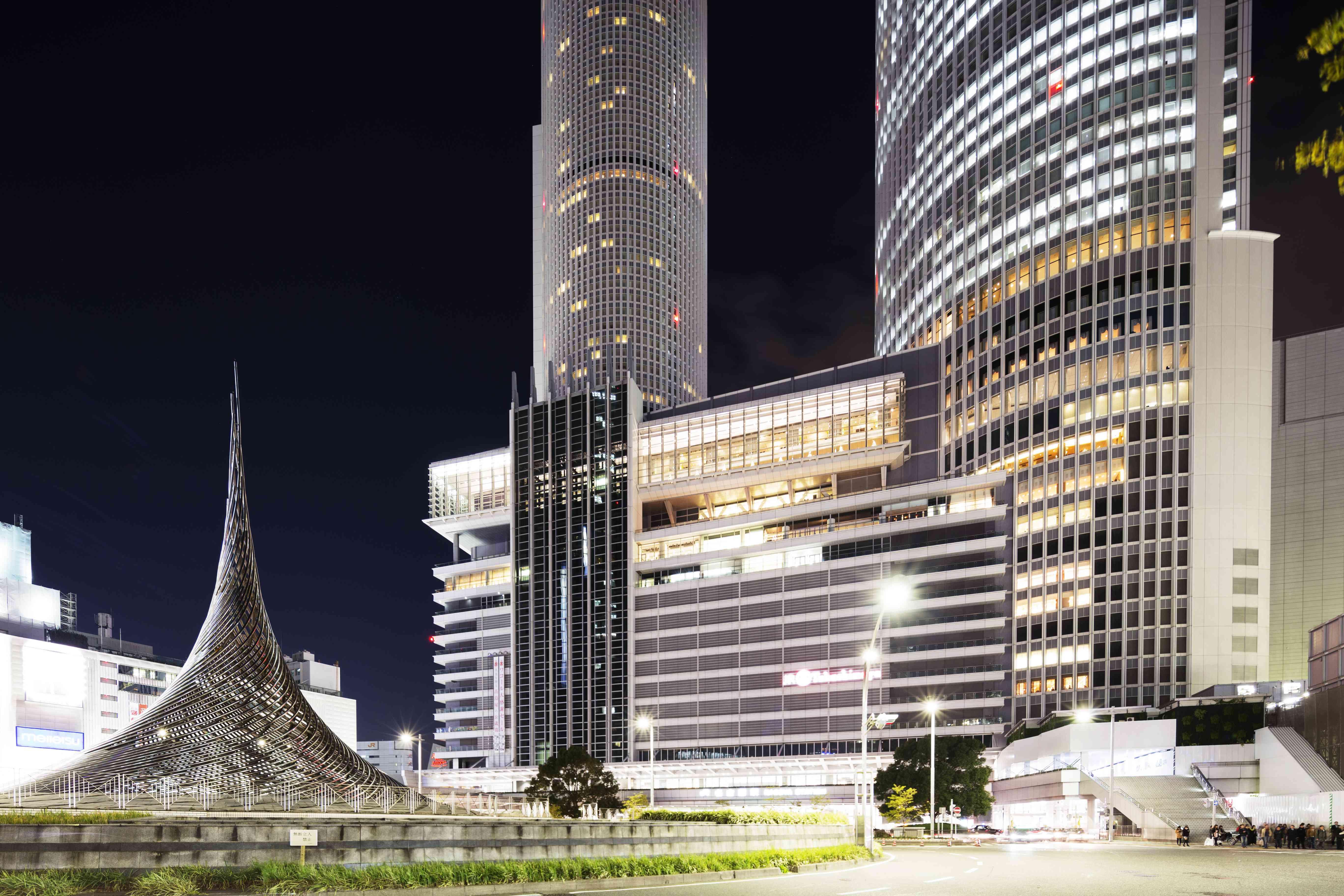 Nagoya train station building at night
