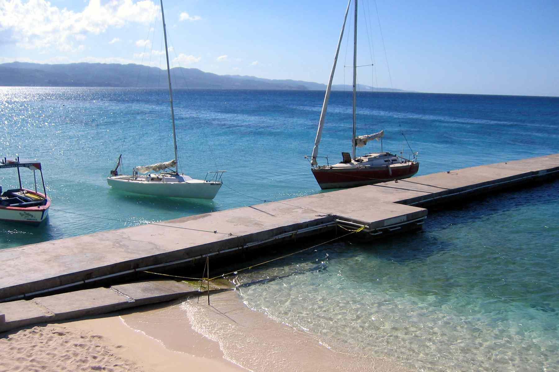 Sailboats along Montego Bay