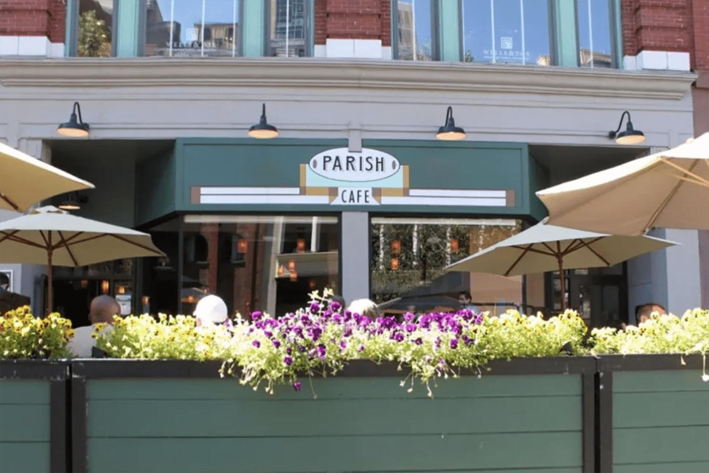 The outside patio of Parish Café in Boston