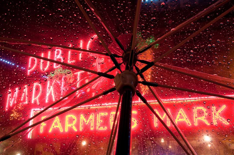 Raining in Pike Place Market