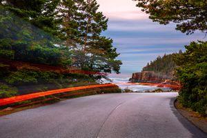 Park Loop Road in Acadia National Park at dusk, in Maine