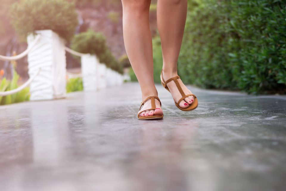 Walking in sandals