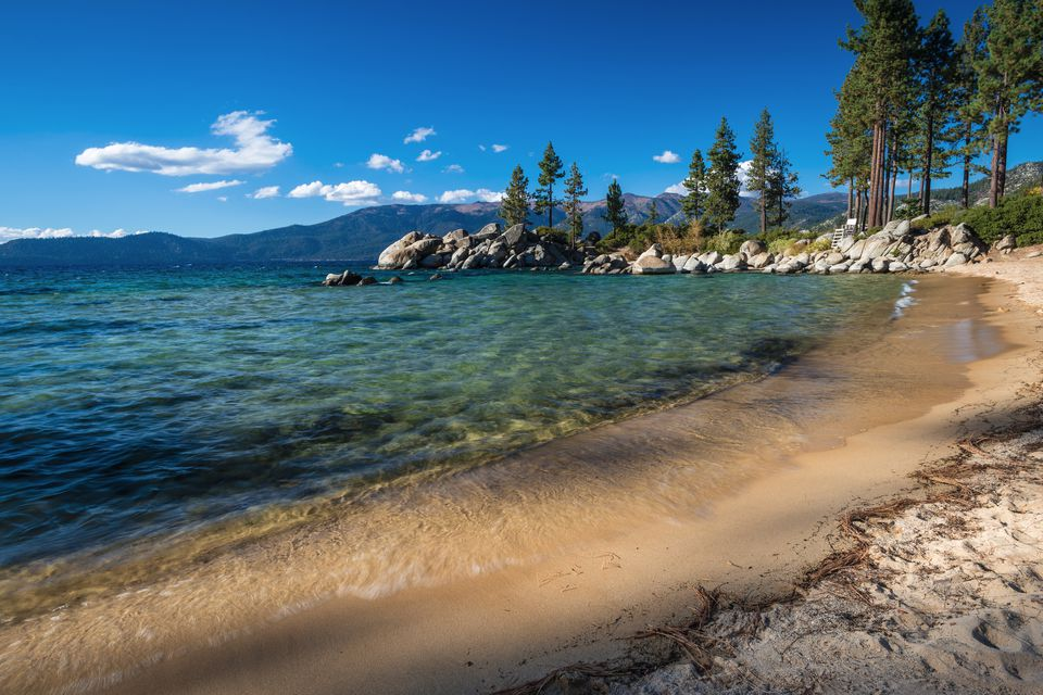 Scenic landscape of Sand Harbor State Park on a sunny day