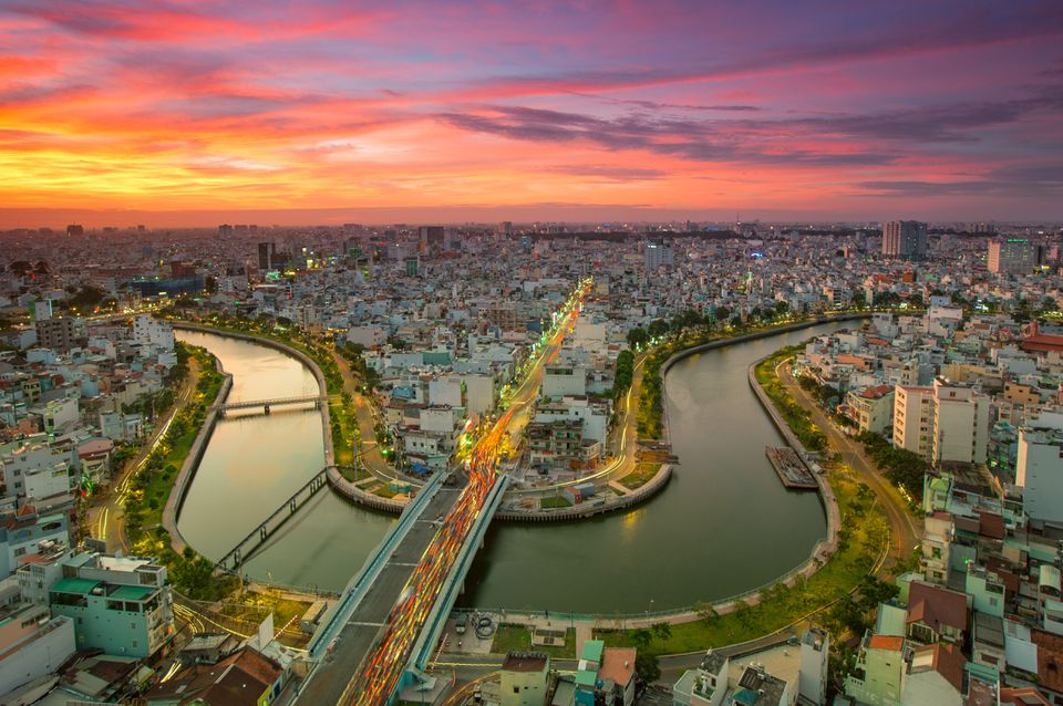 Sunset over Ho Chi Minh City, vietnam
