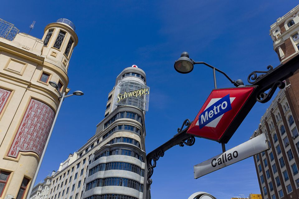 Metro station at Plaza Callao in Madrid