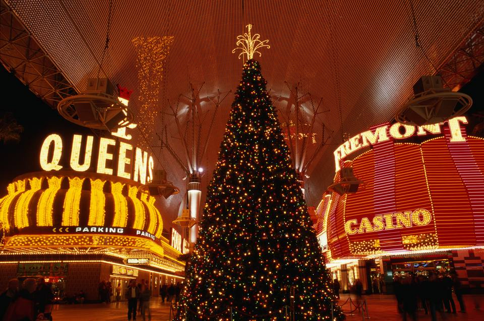 USA, Nevada, Las Vegas, Fremont Street, Christmas tree