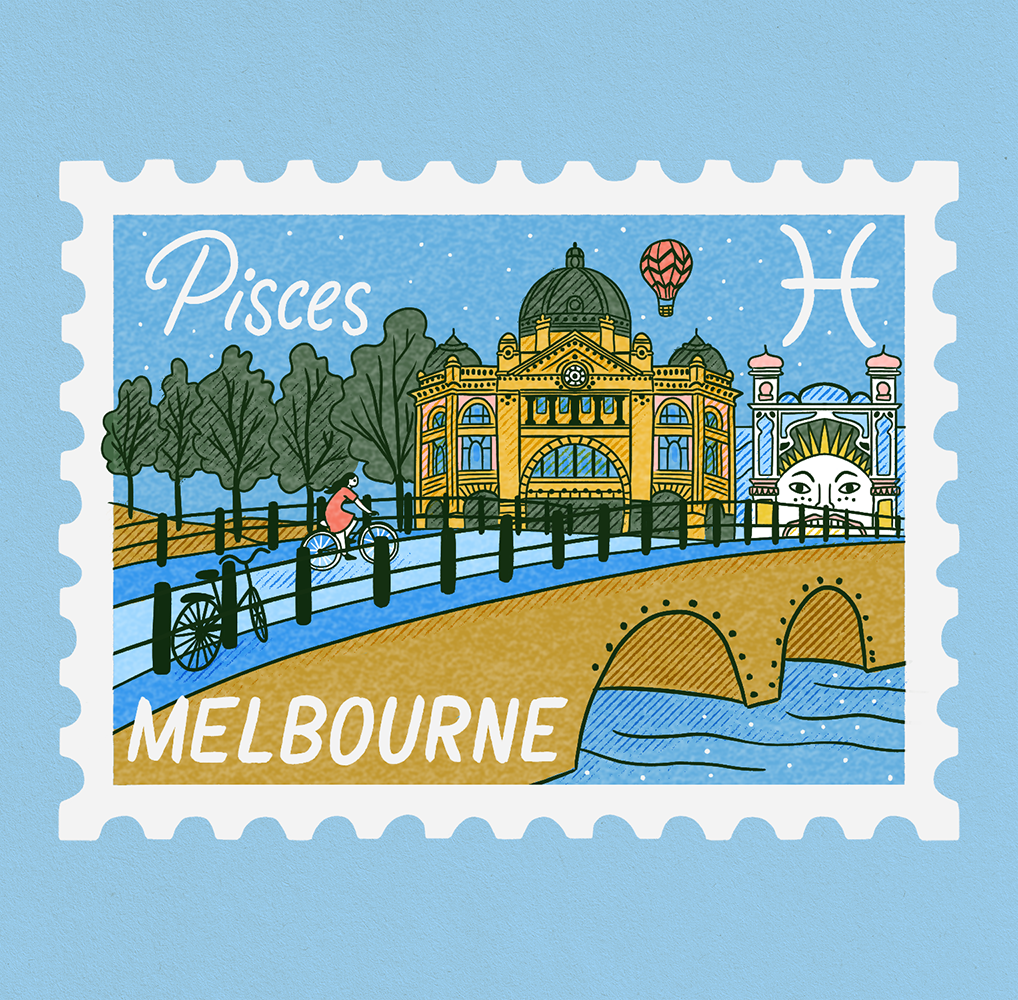 An illustration of a stamp showing a scene of Melbourne. A biker is crossing a bridge with the skyline in the background. Pisces is written on it.