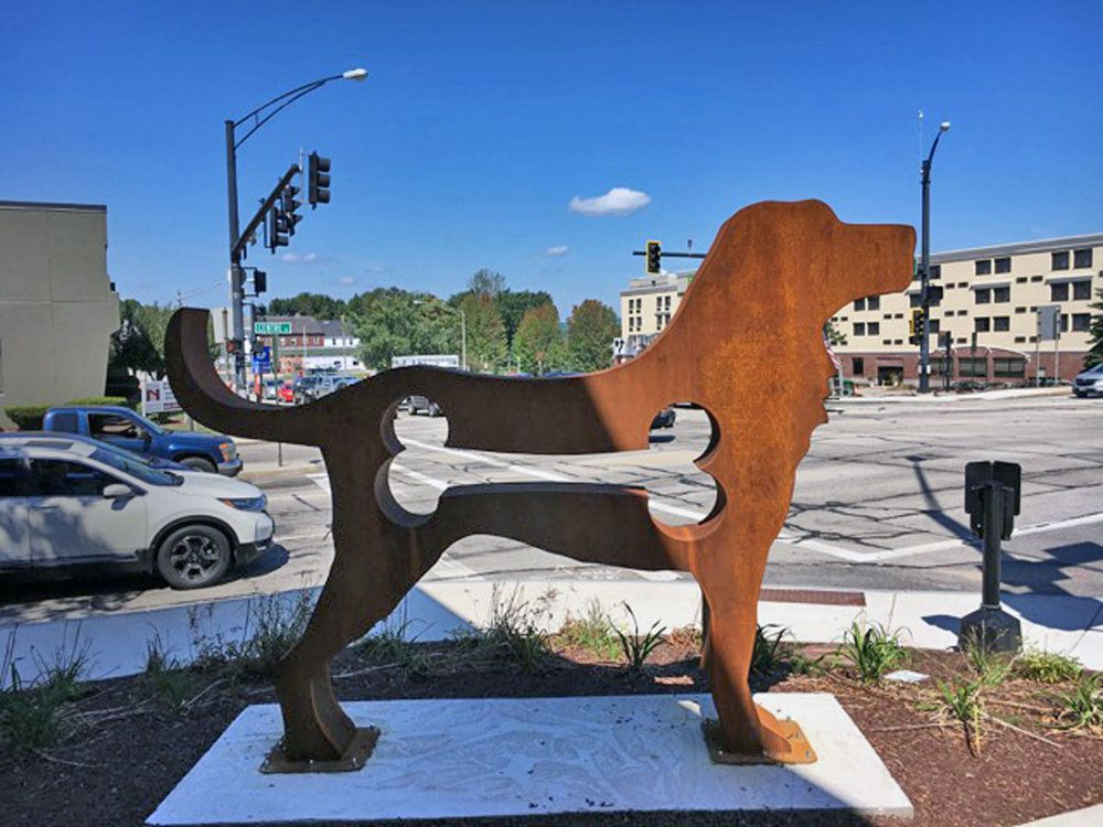 """Dale Rogers """"American Dog"""" Oxidized Steel, Concord New Hampshire temporary art installations"""