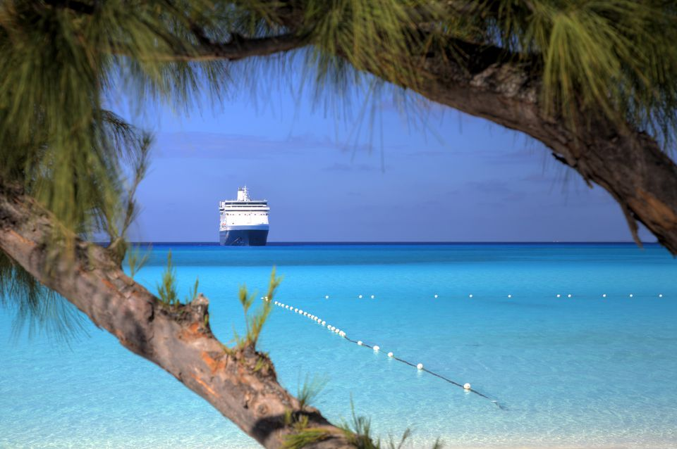 Cruise ship approaching a beach in the Caribbean
