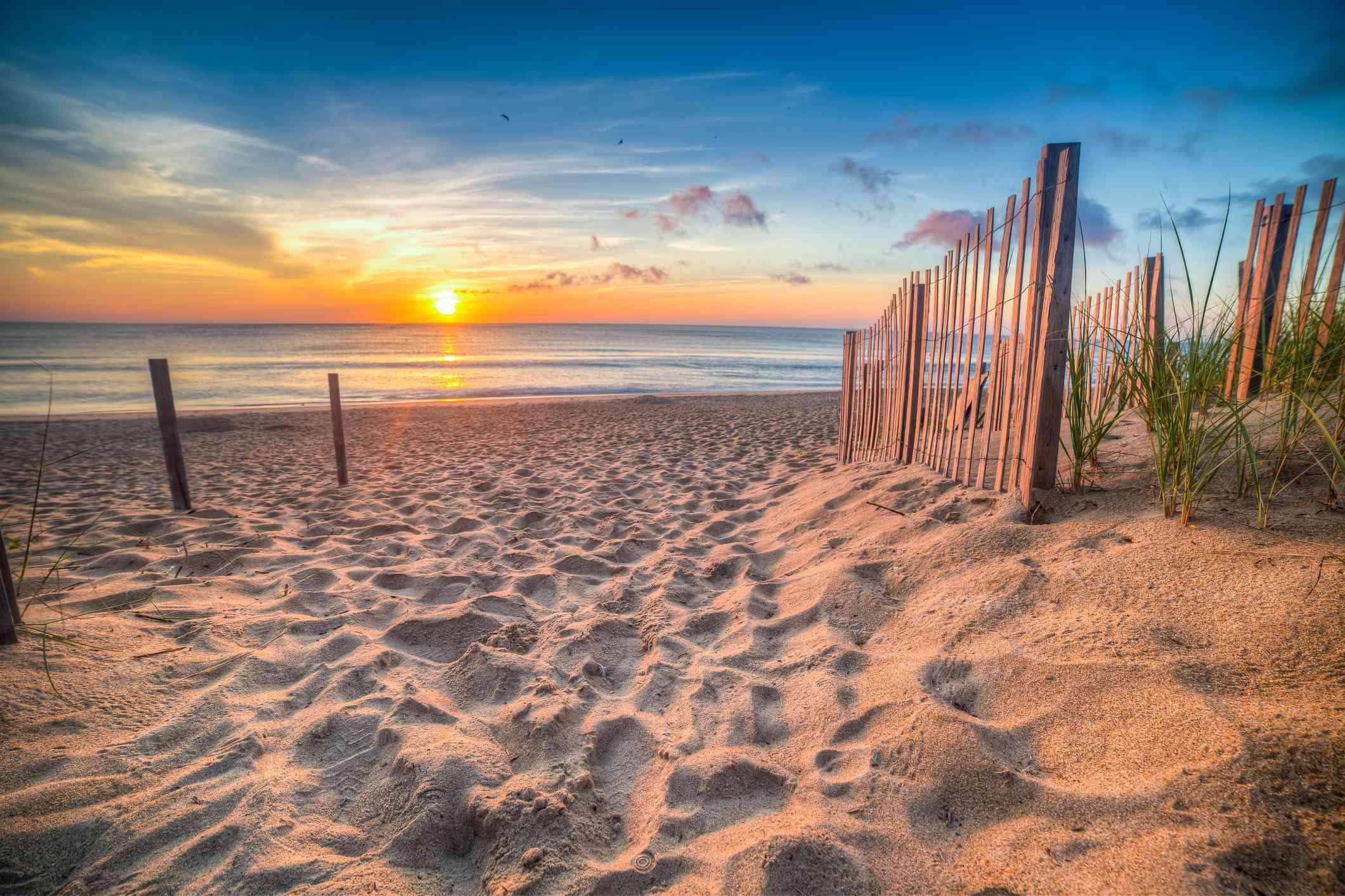 Sandy beach and Atlantic Ocean at sunrise, Outer Banks, North Carolina, USA
