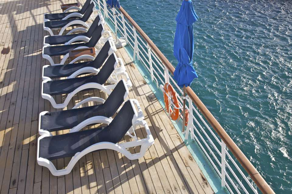 Deck chairs awaiting passengers on Wind Spirit of Windstar Cruises