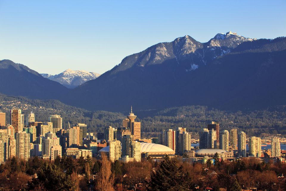 The Vancouver skyline with the North Shore mountains beyond