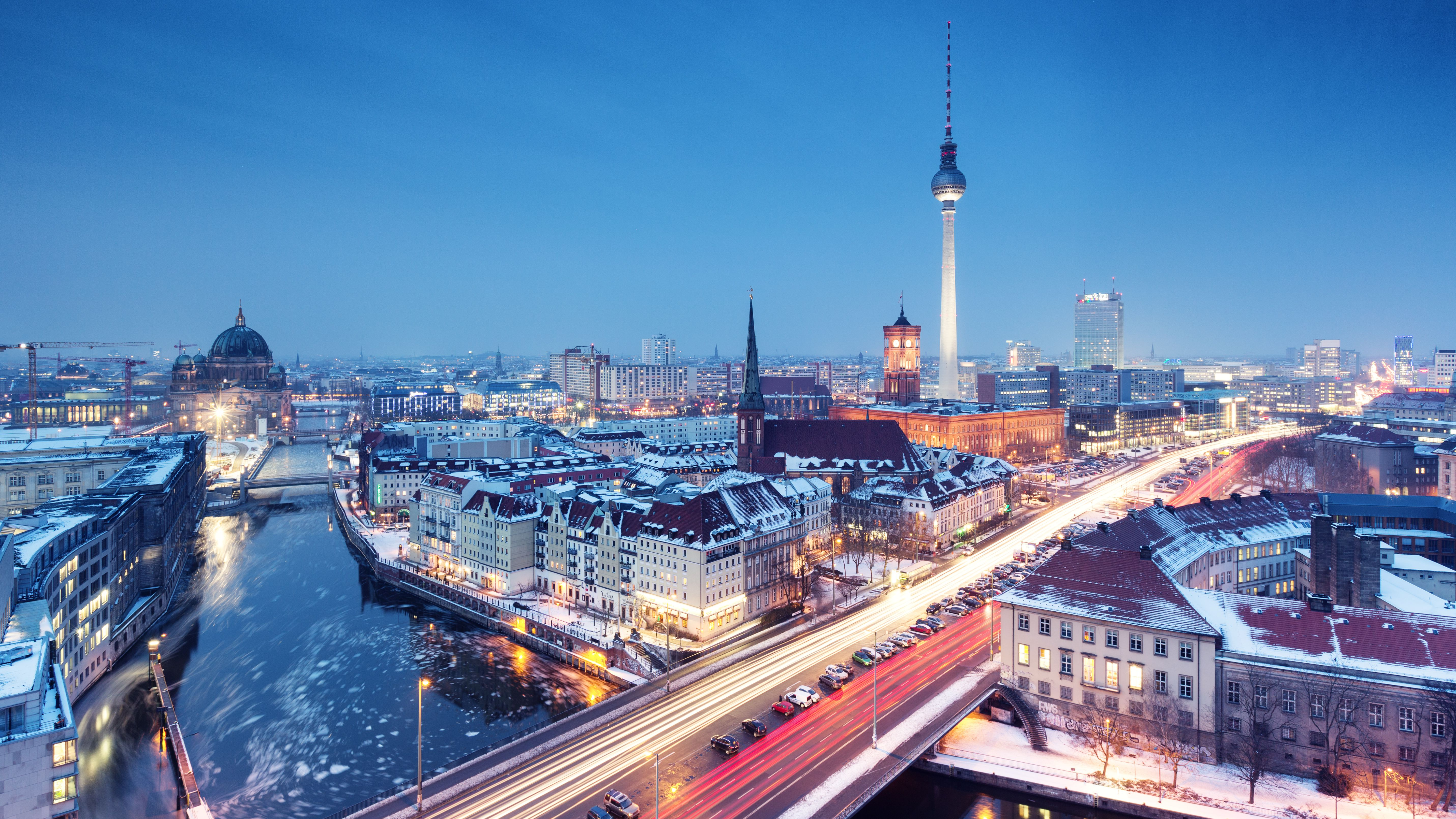 Berlin winter skyline with snow on the roofs