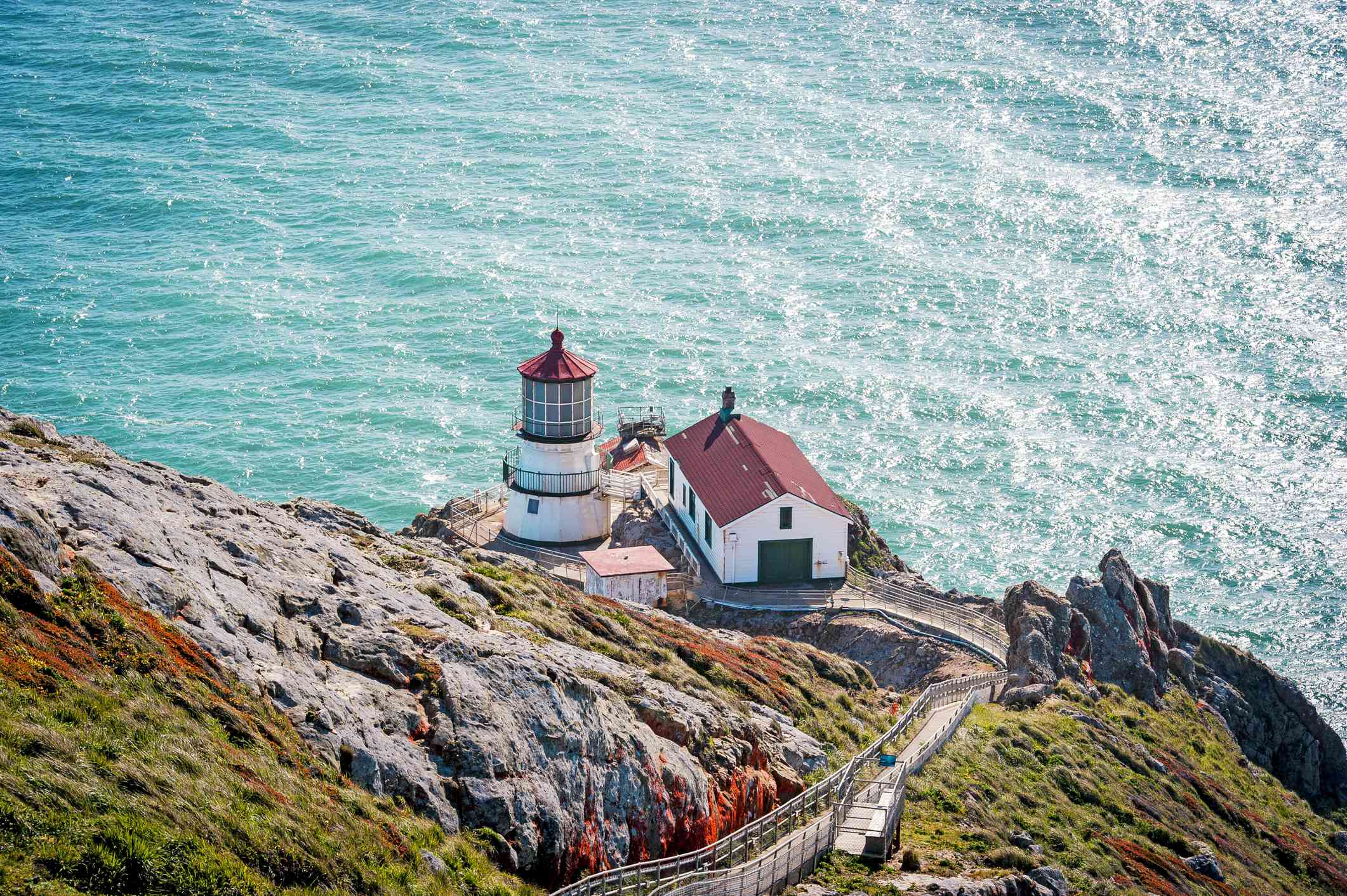 A view of Point Reyes Lighthouse in Point Reyes National Seashore