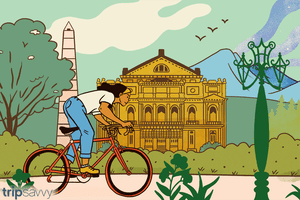 Illustration of woman biking around the world