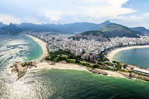 Aerial view of Arpoador in Rio de Janeiro.
