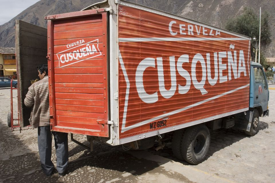 Cusquena beer delivery truck