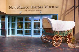 Outside the New Mexico History Museum on Lincoln Ave in downtown Santa Fe, New Mexico USA